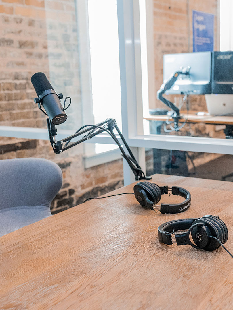 Image of an office podcast setup.